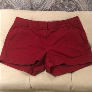 J Crew red cotton shorts